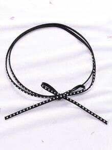 Gargantilla con doble vueltas con tachuelas y cordón de lazo - negro