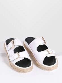 White Buckle Design Espadrille Slide Sandals