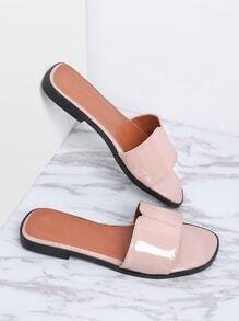 Pink Patent Leather Slide Flat Sandals