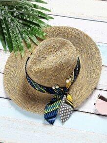 Sombrero con bufanda con detalle de pin de la perla artificial-kaki