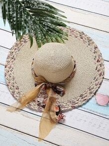 Beige, texturé, large bord, sunhat, arc, cravate