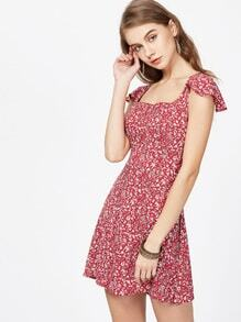 Florals Square Neck Criss Cross Bow Tie Back Dress