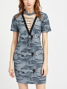 Camo Print Choker Neck Lace Up Sheath Dress