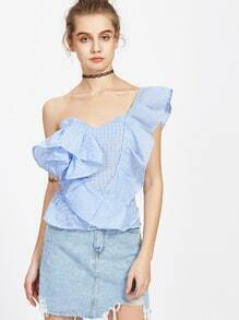 Gingham Plaid Ruffle Trim Haut de la page