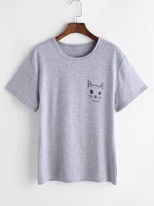 T-shirt imprimé gris chatoyant