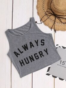 Heather Grey Letter Print Ernte Tank Top