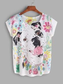 Camiseta con estampado de perro - blanco