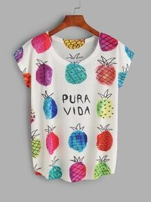 White Pineapple Print T-shirt