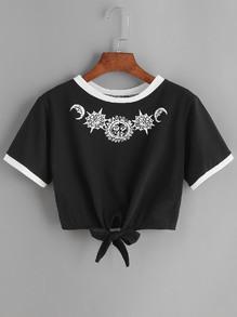Sun-modelée t-shirt contraste garniture et de la dentelle sur le devant - noir