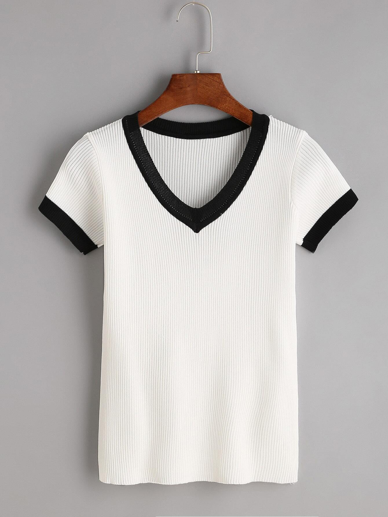 White Contrast Trim V Neck Ribbed Knitted T-shirt