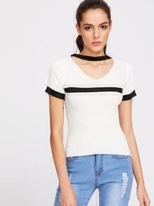 White Contrast Trim Choker V Neck Knitted T-shirt