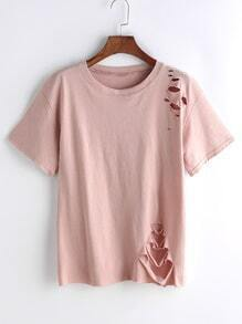 Pink Ripped Casual T-shirt