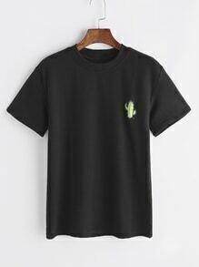 Camiseta con cuello mock con bordado de cactus - negro