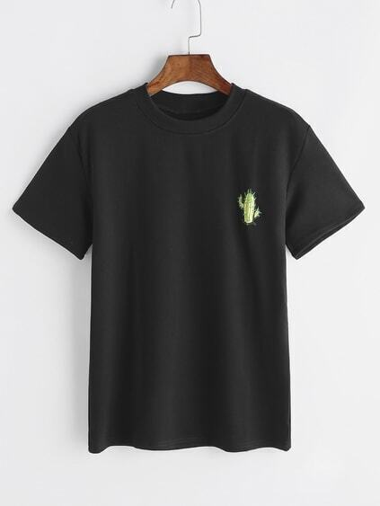 Black Cactus Embroidered Mock Neck T-shirt
