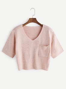 Shirt court Point V-cou et poche - Rose