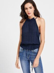 Navy Lace Up Open Back Halter Neck Top