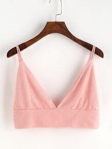 Top de antelina con cuello en V - rosa