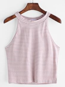 Top Striped Halter - Rose