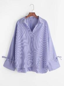 Blue Striped Bow Tie High Low Shirt