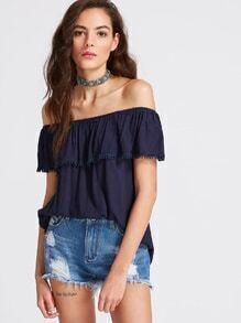 Blue Off The Shoulder Crochet Trim Top