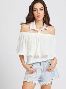 White Off The Shoulder Frill Collar Halter Top
