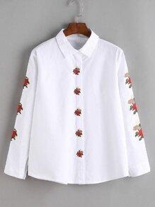 Blusa con bordado de flor - blanco