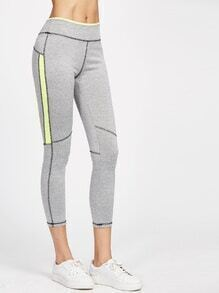 Leggings en panel en contraste - gris