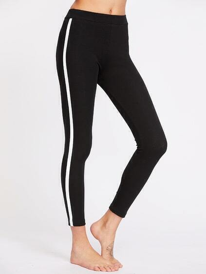 Leggings de rayas laterales - negro