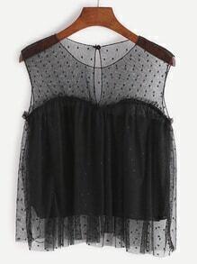 Top con espalda con abertura de malla transparente con encaje - negro
