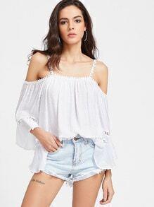 Blusa plisada hueca con hombros descubiertos - blanco