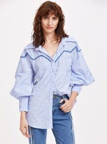 Striped Lantern Sleeve Embroidered Tape Detail Blouse