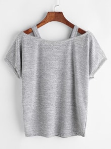 Grey Cut Out Tighter Sleeve T-shirt