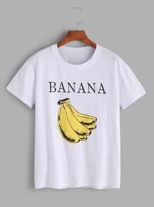 Camiseta con estampado de plátano casual - blanco