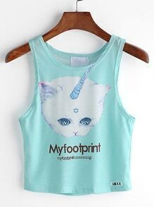 Green Letter And Cat Print Tank Top