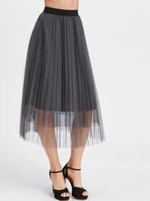 Grey Ruffle Hem Tulle Full Midi Skirt