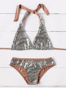 Silver Contrast Trim Sequin Triangle Sexy Bikini Set
