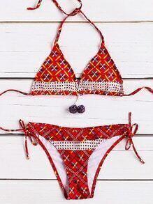 Set bikini en triángulo con cordón lateral - rojo