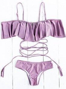 Set bikini con detalle de volantes con tiras - violeta