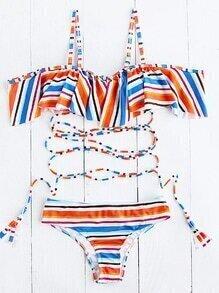 Set bikini de rayas con detalle de volantes con tiras - multicolor