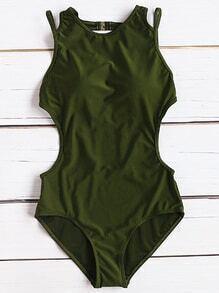 Armee Grüne Seite Ausschnitt Sexy Monokini