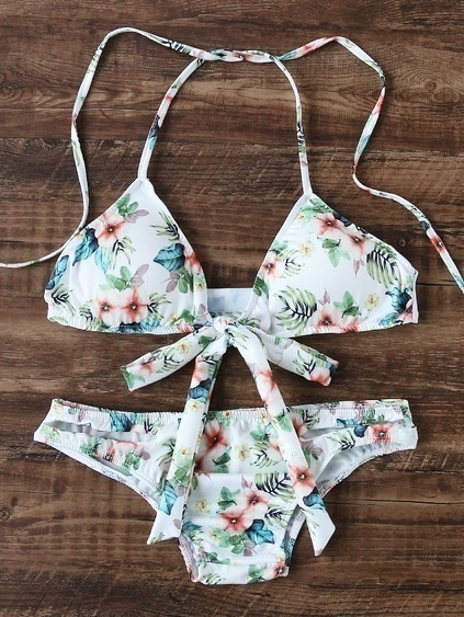 White Floral Print Bow Tie Triangle Bikini Set