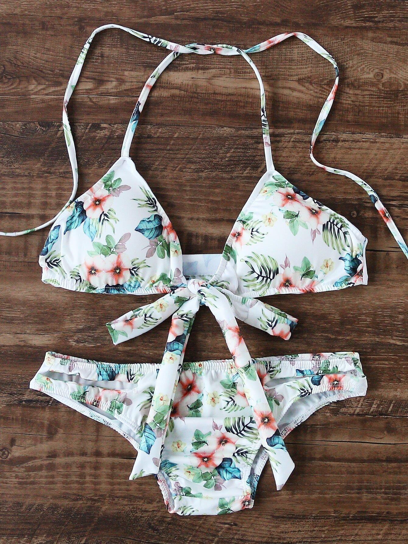 White Floral Print Bow Tie Triangle Bikini Set