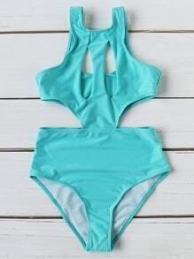 Monokini sexy con diseño de abertura - turquesa