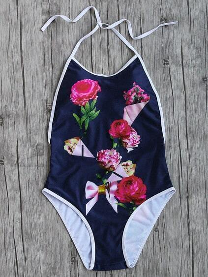 Navy Flower Print Contrast Trim Halter One-Piece Swimwear
