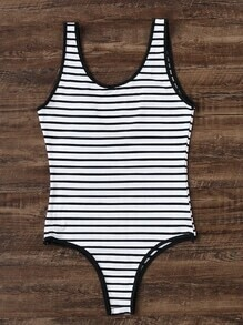 Black And White Striped One-Piece Swimwear