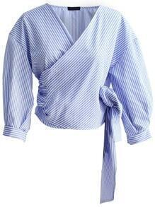 Blue Vertical Striped Wrap Blouse