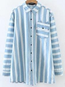 Blusa de rayas con bolsillo - azul blanco
