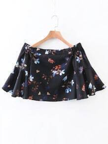 Black Floral Boat Neck Bell Sleeve Blouse