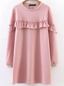 Vestido túnica ribete con volantes - rosa