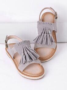 Sandalias planas con borlas - gris